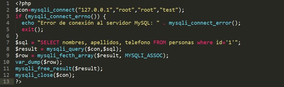 Error en php mysqli_query conexión a mysql