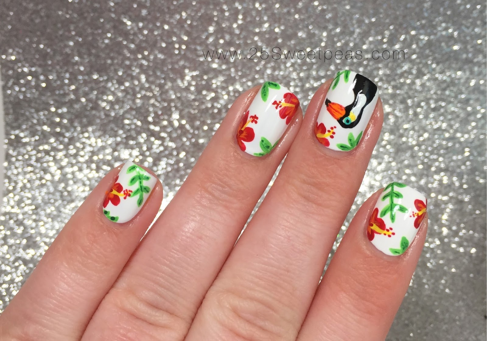 Tropical Toucan Nail Art - 25 Sweetpeas
