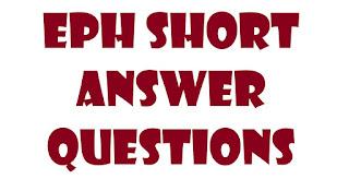 EPH Short answer questions