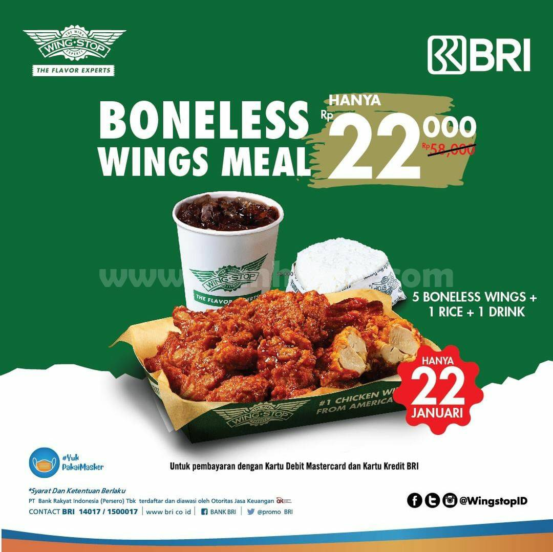 WINGSTOP Spesial Promo BRI! 5 Boneless Wings Meal hanya Rp 22.000
