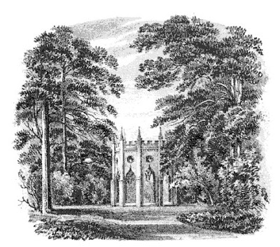 The Gothic Temple at Pains Hill  from Select Illustrations of the County of Surrey by Prosser (1828)