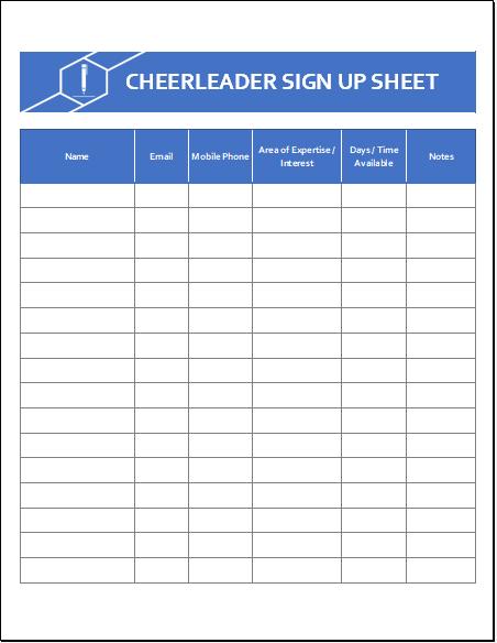 Cheerleader Sign Up Sheet Template