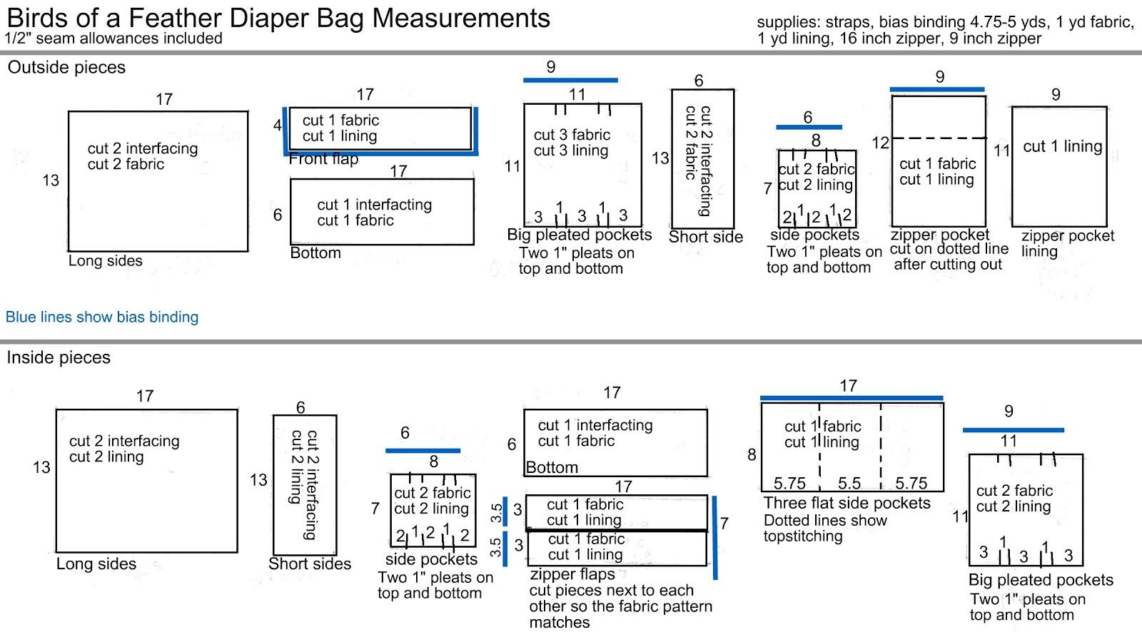 Birds Of A Feather Diaper Bag Measurements Heather Handmade
