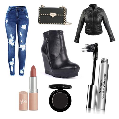 Outfit rockero con botines de cuña y pantalones rotos