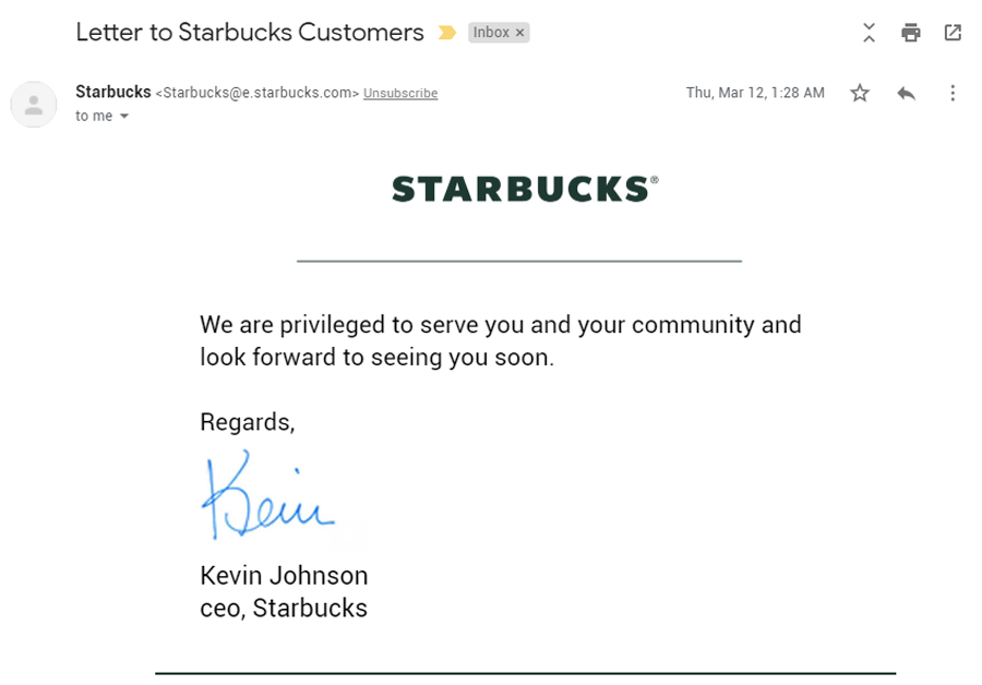 Crisis communication email example: Starbucks