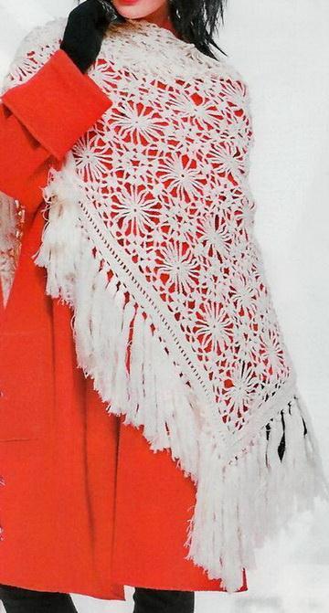 easy crochet shawl pattern,  triangle winter