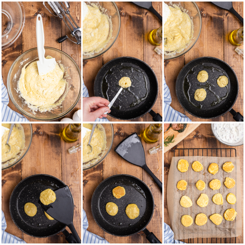 Six more process photos of making Keto Blinis with Smoked Salmon Pate.