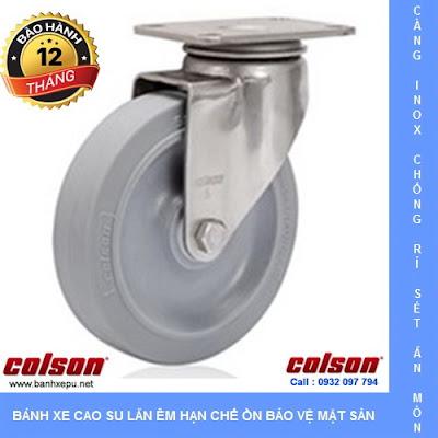 Bánh xe đẩy cao su đặc càng inox 304 Colson không để vết | 2-5408-444 www.banhxeday.xyz