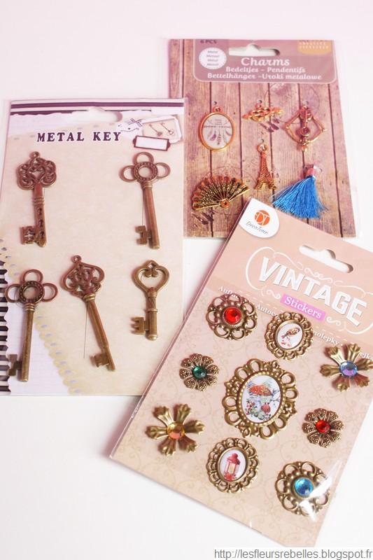 Breloques et stickers métal pour bijoux, scrapbooking