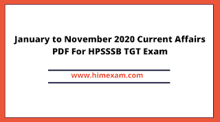 January to October 2020 HP Current Affairs PDF For HP GOVT  Exam