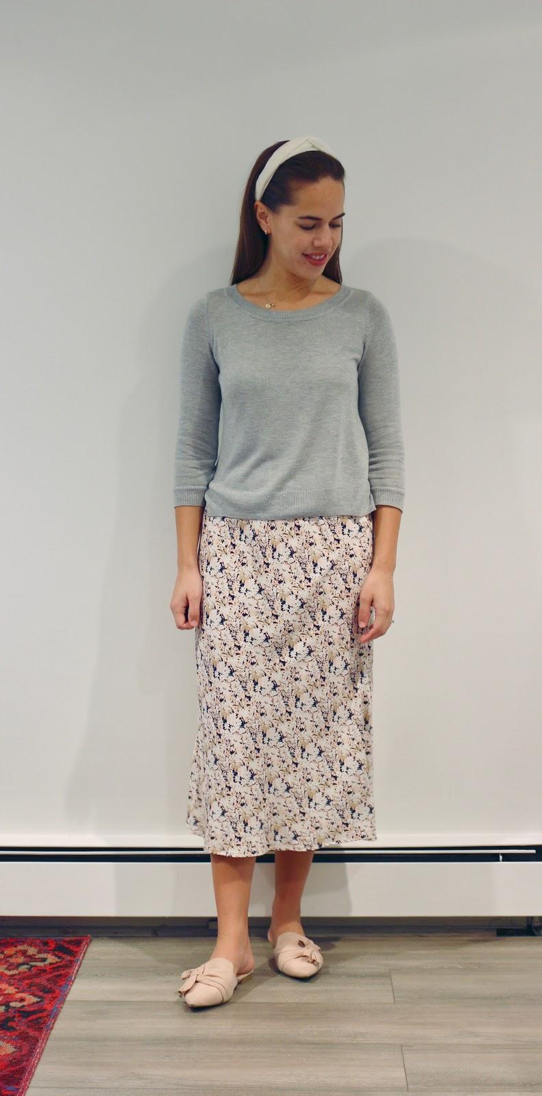 Jules in Flats - Floral Print Midi Skirt (Business Casual Workwear on a Budget)