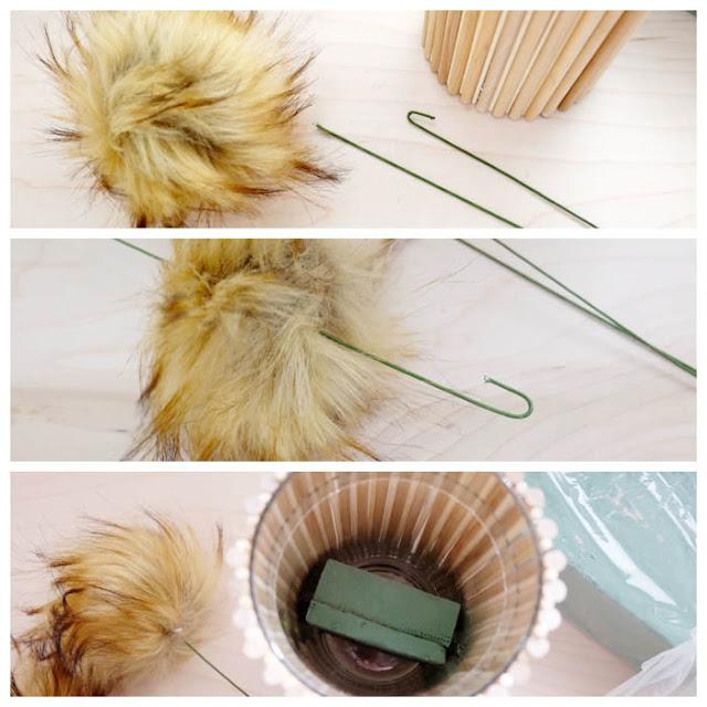 faux fur pom pom flower supplies