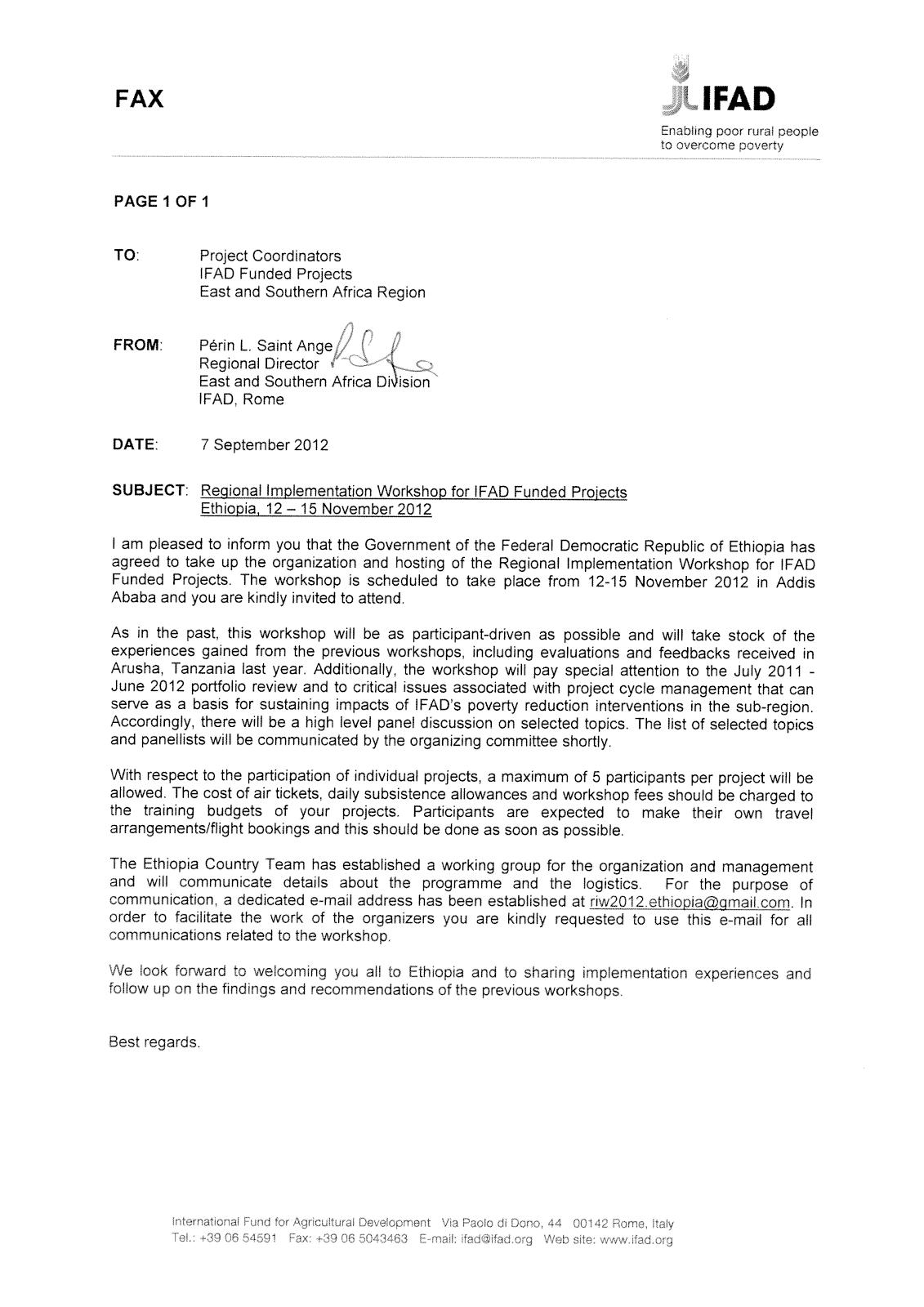 The 7th IFAD/ESA Regional Implementation Workshop: Invitation Letter