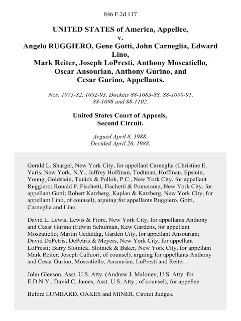 Cover page of indictment in Gene Gotti/Angelo Ruggiero etc. case.