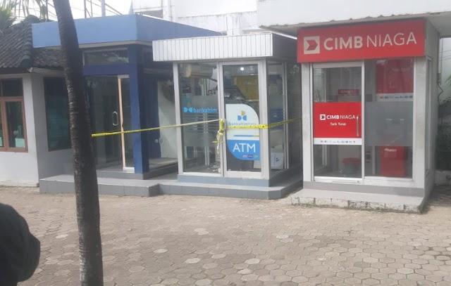 Diduga Percobaan Pembobolan, ATM Bank Kaltimtara di Jalan Antasari Samarinda Rusak