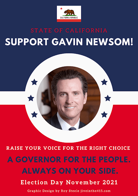 """A campaign poster that anyone can download and print that is optimized for personal use and says """"Support Gavin Newsom""""."""