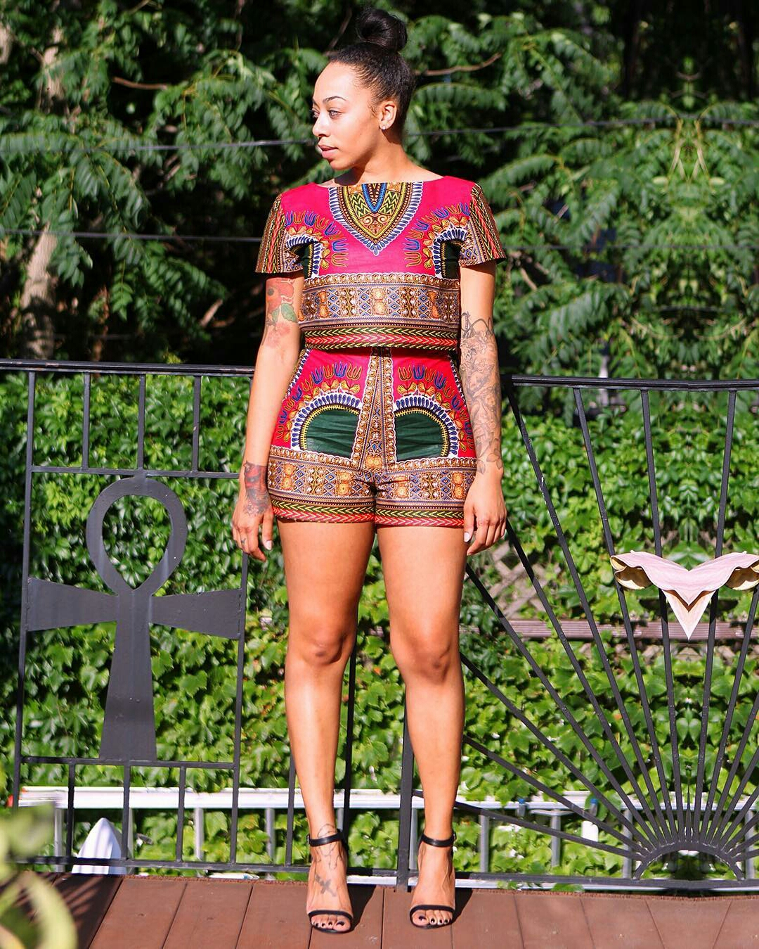 Dressing des 4 Saisons Zuvaa African style Dashiki short crop top  rouge rose Concours