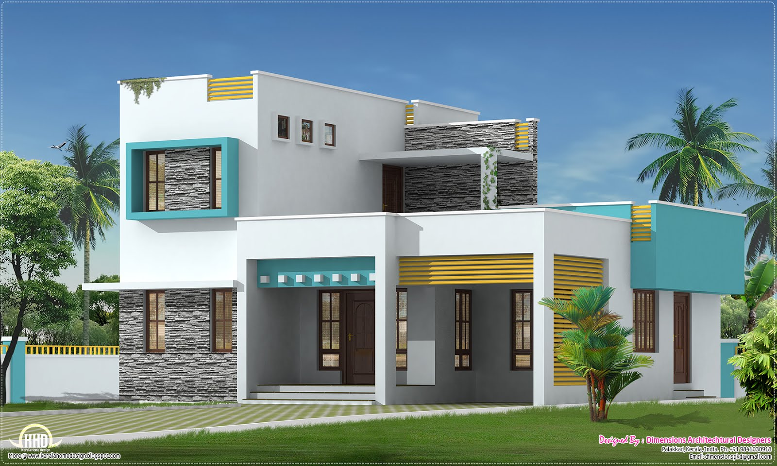1500 square feet 3 bedroom villa kerala home design and for Kerala model house plans 1000 sq ft