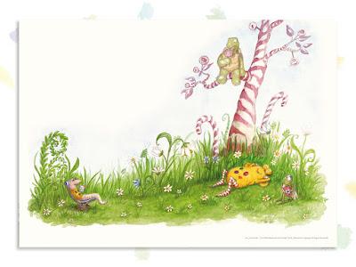 Kinderbuchillustration, Bonbonwiese, Traum, Monster, niedlich, Pumpf, Loni lacht!, Kinderbuch, Glück, Resilienz, glücklich sein, Kindergarten, Vorschule