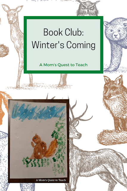 Book Club: Winter's Coming trimmed with green; background clipart of fox, deer, bear and other forest animals; children's painting of a squirrel