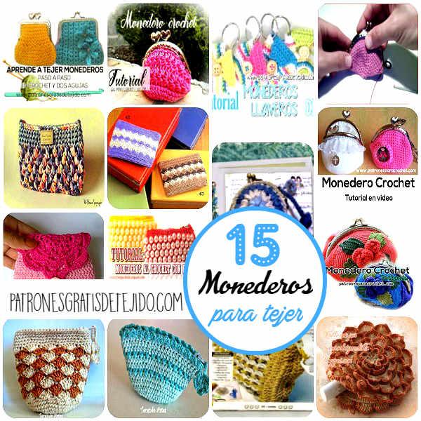 15 monederos para tejer con tutoriales y patrones