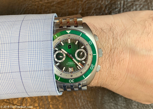 Straton Tourer Triple Calendar green wrist shot