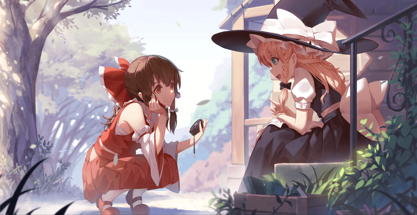 Touhou-Oriental Project-Reimu & Marisa-1080P 60FPS [Wallpaper Engine Anime]