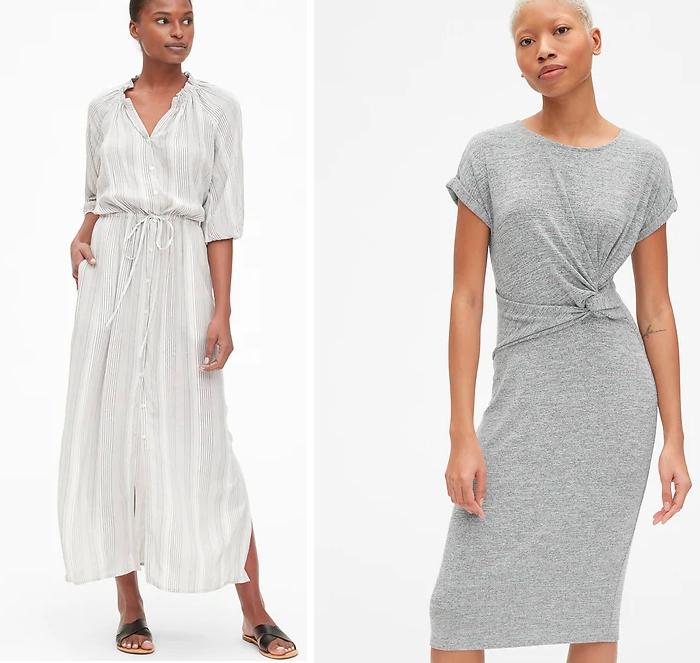 striped linen shirt dress, twist front tee grey knit jersey dress