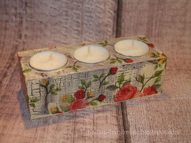 745. Potrójny świecznik decoupage z różami