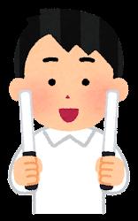 白いペンライトを持つ人のイラスト(男性)