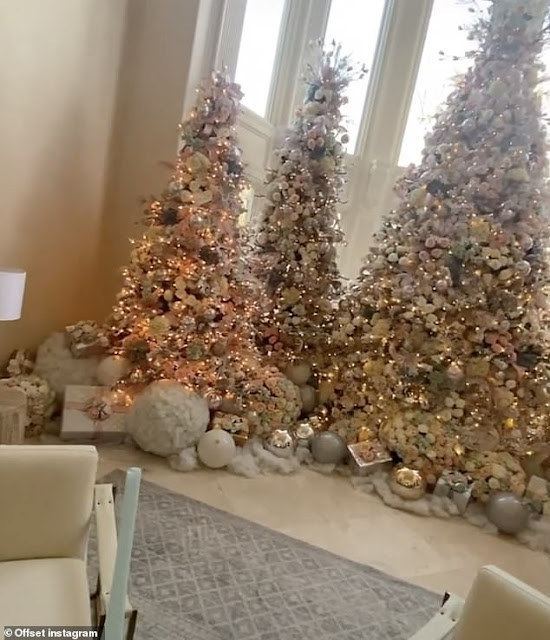 Welcome To Ladun Liadi's Blog: Offset and Cardi B have five Christmas trees  set up in their home... with fans calling it a mini enchanted forest