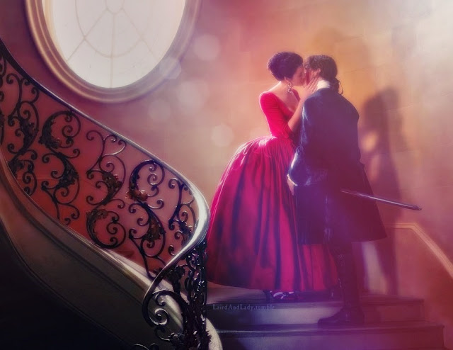 Outlander 202 Red Dress Kiss Digital Art