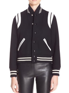 Saint Laurent Teddy white lambskin leather trim black wool bomber jacket with black and white stripe elastic edging
