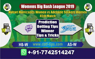 Who will win Today WBBL 2019, 45th Match Adelaide vs Hobart, WBBL T20 2019