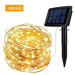 Solar Powered String Lights ieGeek 200 LED Copper Wire Starry Fairy Lights Waterproof Ambiance Lighting 8 Modes Warm White for indoor&Outdoor/Garden/Patio /Home/Party/Wedding/Christmas Decoration-72ft