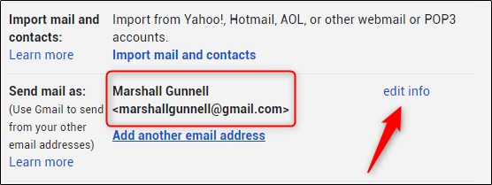 زر تحرير المعلومات بجوار إرسال البريد باسم