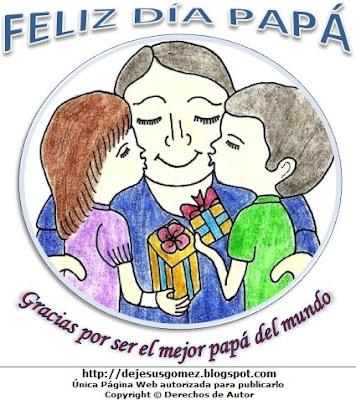 Ilustración del Día del padre pintado a colores  (Padre feliz recibiendo besos de sus hijos), imagen al día del padre hecho por Jesus Gómez