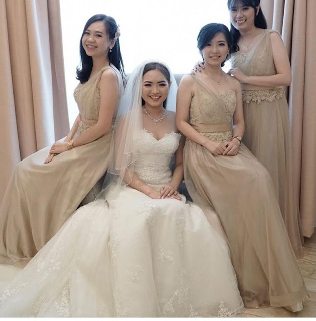 Champagne Gold long bridesmaids dresses