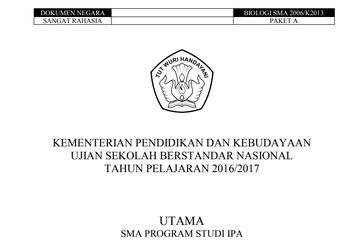 Soal USBN Biologi SMA/MA