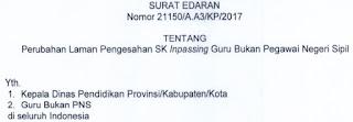 Surat Edaran Tentang Pengesahan SK Inpassing Guru Bukan PNS