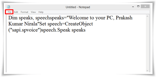 Make your computer greet welcome you after starting in hindi how to make your computer welcome you in hindi notepad m4hsunfo