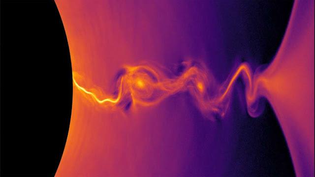 jatos de plasma saindo de buraco negro