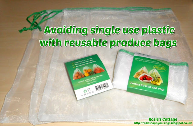 Avoiding single use plastic bags while shopping by using reusable produce bags.