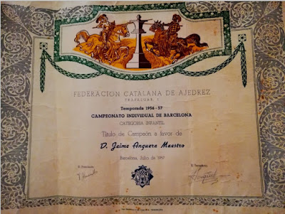 título de Campeón Infantil de ajedrez de Barcelona 1956 a favor de Jaime Anguera