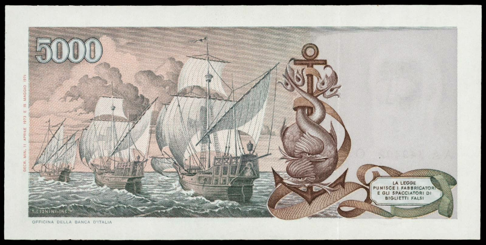 Italy 5000 Lira note