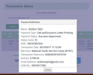 nysc payment status approved re query