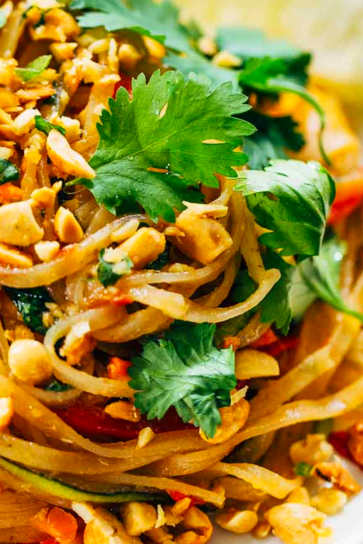 rainbow vegetarian pad thai with recipe peanuts and basil