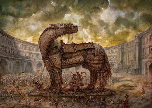 Ilustração representando o famoso episódio da literatura grega do cavalo de Troia