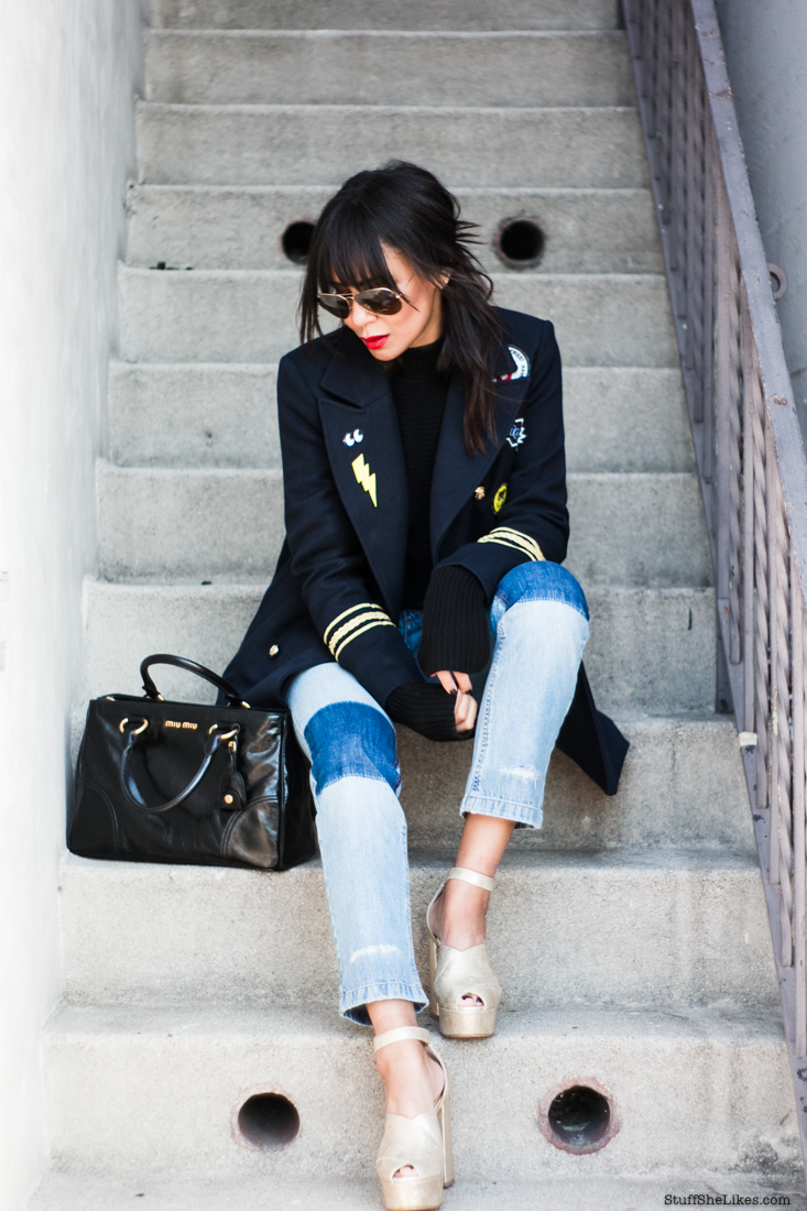 Forever 21, coats, cheap coats, patches, platform heels, miu miu bags, rayban sunglasses, fashion blogger, aninie bing jeans