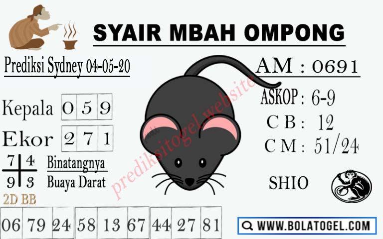 Prediksi Togel Sydney 04 Mei 2020 - Syair Mbah Ompong